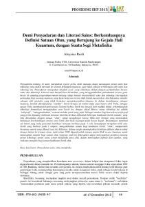 Demi Penyadaran dan Literasi Sains: Berkembangnya Definisi Satuan Ohm, yang Berujung ke Gejala Hall Kuantum, dengan Suatu Segi Metafisika