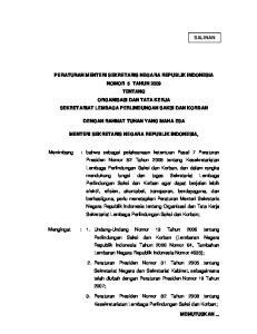 DENGAN RAHMAT TUHAN YANG MAHA ESA MENTERI SEKRETARIS NEGARA REPUBLIK INDONESIA,