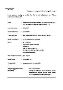 Derde openbare verslag ex artikel 73a Fw in het faillissement van Visions Entertainment Group B.V