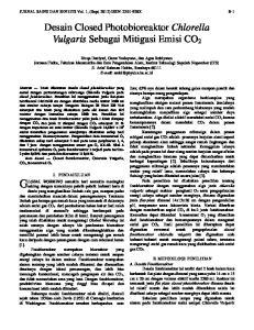 Desain Closed Photobioreaktor Chlorella Vulgaris Sebagai Mitigasi Emisi CO 2