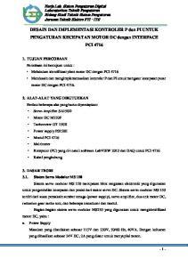 DESAIN DAN IMPLEMENTASI KONTROLER P dan PI UNTUK PENGATURAN KECEPATAN MOTOR DC dengan INTERFACE PCI 4716