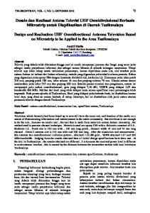 Desain dan Realisasi Antena Televisi UHF Omnidireksional Berbasis Mikrostrip untuk Diaplikasikan di Daerah Tasikmalaya