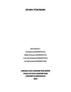 DESAIN PEKERJAAN. Oleh Kelompok 1 : Bramantyo Aji ( ) Alifiyani Krisna Ayu ( ) Arsya Fajar Kurniawan ( )