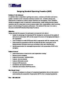 Designing Standard Operating Procedurs (SOP)