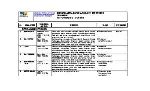 DESKRIPSI ACARA SIARAN JURNALISTIK DAN ARTISTIK PROGRAMA 1 RRI PURWOKERTO TAHUN 2013