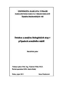 Detekce a analýza biologických stop v případech sexuálního násilí
