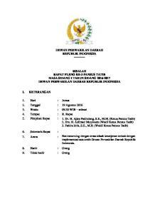 DEWAN PERWAKILAN DAERAH REPUBLIK INDONESIA RISALAH RAPAT PLENO KE-3 PANSUS TATIB MASA SIDANG I TAHUN SIDANG