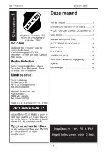 Deze maand. 42 e jaargang nr. 1. Redactieleden: Eindredactie: BELANGRIJK!!