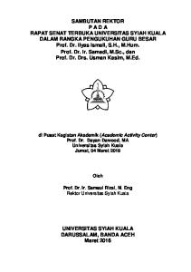 di Pusat Kegiatan Akademik (Academic Activity Center) Prof. Dr. Dayan Dawood, MA Universitas Syiah Kuala Jumat, 04 Maret 2016 Oleh