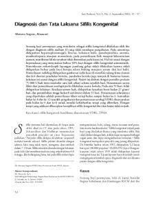 Diagnosis dan Tata Laksana Sifilis Kongenital