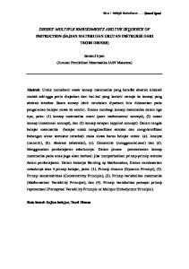 DIENES MULTIPLE EMBODIMENTS AND THE SEQUENCE OF INSTRUCTION (SAJIAN MATERI DAN URUTAN INSTRUKSI DARI TEORI DIENES)