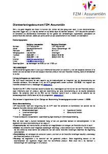 Dientverleningsdocument FZM Assurantiën