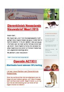 Dierenkliniek Nesselande Nieuwsbrief Maart 2015