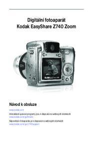 Digitální fotoaparát Kodak EasyShare Z740 Zoom Návod k obsluze