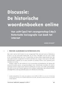 Discussie: De historische woorden boeken online