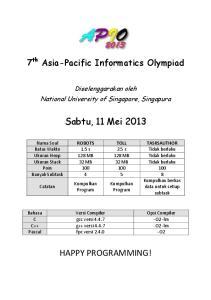 Diselenggarakan oleh National University of Singapore, Singapura. Sabtu, 11 Mei 2013