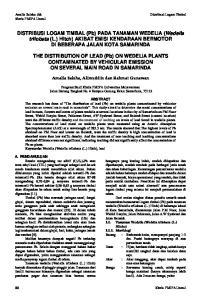 DISTRIBUSI LOGAM TIMBAL (Pb) PADA TANAMAN WEDELIA (Wedelia trilobata (L.) Hitch) AKIBAT EMISI KENDARAAN BERMOTOR DI BEBERAPA JALAN KOTA SAMARINDA