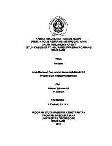 Disusun TESIS. Disusun. Untuk Memenuhi Persyaratan Memperoleh Derajat S-2. Program Studi Magister Kenotariatan. Oleh : Ariawan Sukarno Adi B4B008024