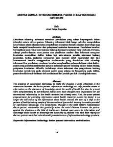 DOKTER GOOGLE: INTERAKSI DOKTER-PASIEN DI ERA TEKNOLOGI INFORMASI