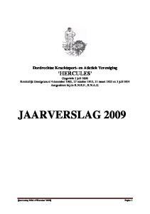 Dordrechtse Krachtsport- en Atletiek Vereniging HERCULES JAARVERSLAG 2009