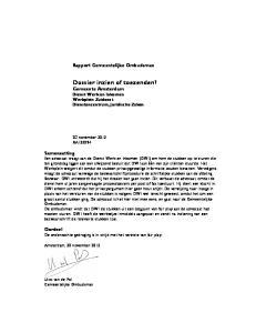 Dossier inzien of toezenden? Gemeente Amsterdam Dienst Werk en Inkomen Werkplein Zuidoost Dienstencentrum, Juridische Zaken
