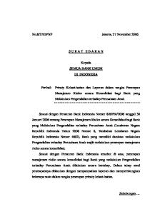 DPNP Jakarta, 27 November 2006 S U R A T E D A R A N. Kepada SEMUA BANK UMUM DI INDONESIA