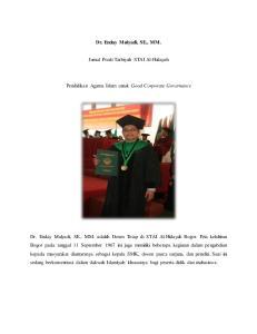 Dr. Enday Mulyadi, SE., MM. Jurnal Prodi Tarbiyah STAI Al-Hidayah. Pendidikan Agama Islam untuk Good Corporate Governance