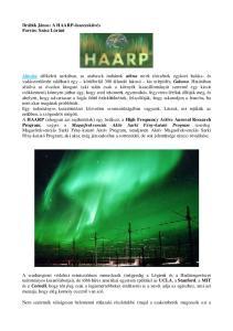 Drábik János: A HAARP-összeesküvés Forrás: Szász Lóránt