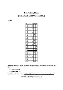 Draft Marking Scheme. (Berdasarkan Solusi OSP Astronomi 2013)