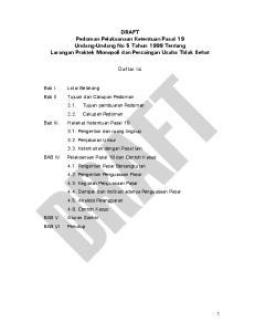 DRAFT Pedoman Pelaksanaan Ketentuan Pasal 19 Undang-Undang No 5 Tahun 1999 Tentang Larangan Praktek Monopoli dan Persaingan Usaha Tidak Sehat