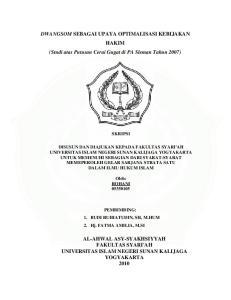 DWANGSOM SEBAGAI UPAYA OPTIMALISASI KEBIJAKAN HAKIM (Studi atas Putusan Cerai Gugat di PA Sleman Tahun 2007)