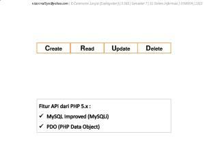E-Commerce Lanjut (CodeIgniter) 3 SKS Semester 7 S1 Sistem Informasi UNIKOM 2015 Create Read Update Delete