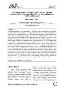 e-issn Tarpin Juandi, Anhar - Pengaruh Model Pembelajaran Project Based Learning Ditinjau Dari... Halaman 47-52