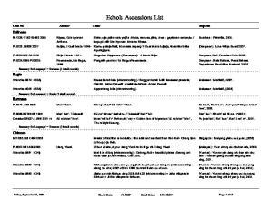 Echols Accessions List