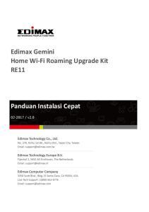 Edimax Gemini Home Wi-Fi Roaming Upgrade Kit RE11 Panduan Instalasi Cepat