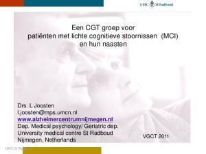 Een CGT groep voor patiënten met lichte cognitieve stoornissen (MCI) en hun naasten