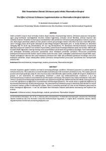 Efek Penambahan Ekstrak Echinacea pada Infeksi Plasmodium Berghei. The Effect of Extract Echinacea Supplementation on Plasmodium Berghei Infection