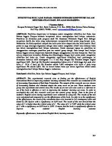 EFEKTIFITAS BUKU AJAR BAHASA INGGRIS BERBASIS KOMPETENSI DALAM MENINGKATKAN HASIL BELAJAR MAHASISWA