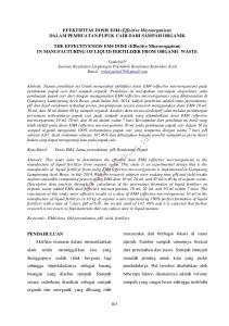 EFEKTIFITAS DOSIS EM4 (Effective Microorganism) DALAM PEMBUATAN PUPUK CAIR DARI SAMPAH ORGANIK