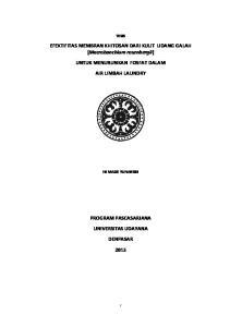 EFEKTIFITAS MEMBRAN KHITOSAN DARI KULIT UDANG GALAH (Macrobanchium rosenbergii) UNTUK MENURUNKAN FOSFAT DALAM AIR LIMBAH LAUNDRY