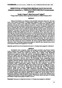 EFEKTIVITAS ANTIBAKTERI EKSTRAK DAUN PACAR AIR (Impatiens balsamina L.) TERHADAP PERTUMBUHAN Porphyromonas gingivalis