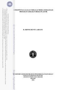 EFEKTIVITAS LEAFLET SEBAGAI MEDIA SOSIALISASI PROGRAM GERAKAN BEBAS PLASTIK R. IRINNE DEVITA ARIANY