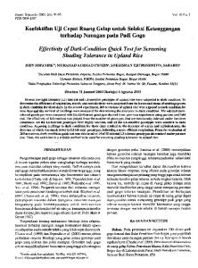 Effectivity of Dark- Condition Quick Test for Screening Shading Tolerance in Upland Rice
