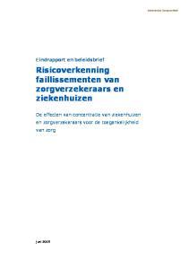 Eindrapport en beleidsbrief Risicoverkenning faillissementen van zorgverzekeraars en ziekenhuizen