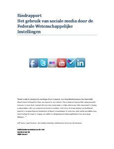 Eindrapport Het gebruik van sociale media door de Federale Wetenschappelijke Instellingen