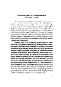 EKONOMI ISLAM BUKAN HANYA BANK SYARIAH Oleh: AM Hasan Ali, MA