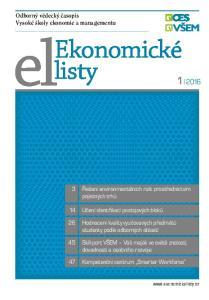Ekonomické listy. Odborný vědecký časopis Vysoké školy ekonomie a managementu. 3 Řešení environmentálních rizik prostřednictvím pojistných trhů