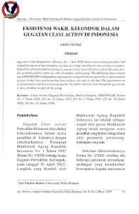EKSISTENSI WAKIL KELOMPOK DALAM GUGATAN CLASS ACTION DI INDONESIA