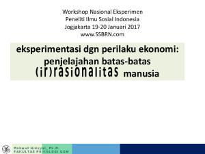 eksperimentasi dgn perilaku ekonomi: penjelajahan batas-batas manusia