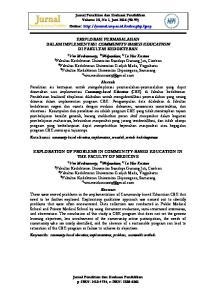 EKSPLORASI PERMASALAHAN DALAM IMPLEMENTASI COMMUNITY-BASED EDUCATION DI FAKULTAS KEDOKTERAN